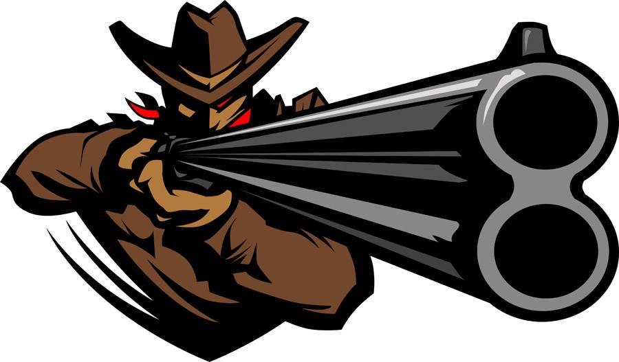 Cowboy Mascot Aiming Shotgun Vector Illustration