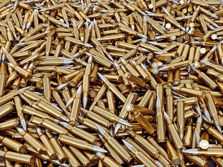 Pile of gun bullets  3d render.
