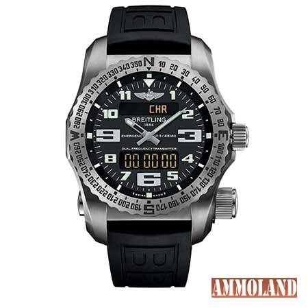 Breitling-Emergency-Volcano-Black-Dial-Black-Rubber-Strap-on-White