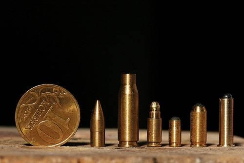 Размеры патронов работы Максима Горбунова в сравнении с 10-копеечной монетой поражают
