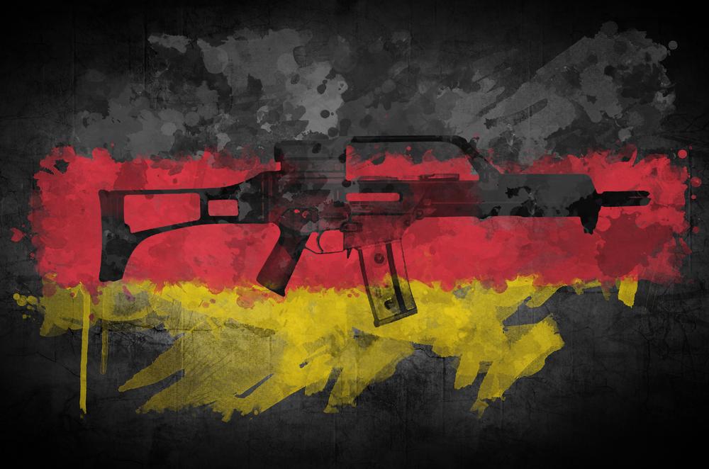 Rifle and flag
